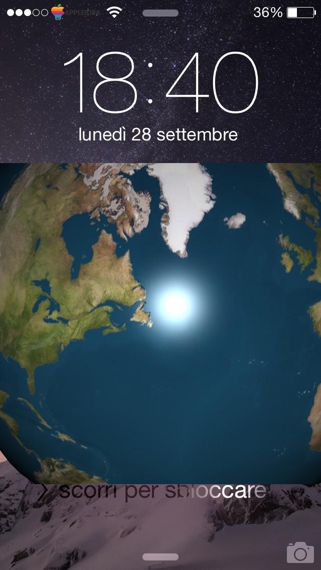 Earth LockScreen, visualizza un globo rotante nella lockscreen pitch-to-zoom