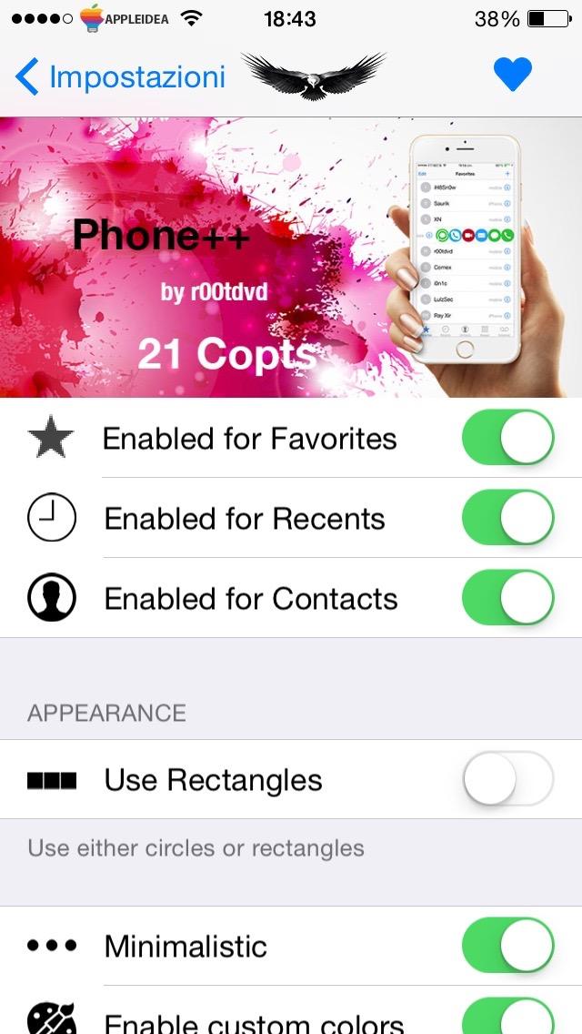 Phone ++, integra una rapido accesso ai social nell'app Telefono Impostazioni
