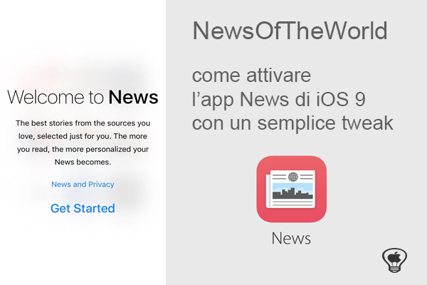 NewsOfTheWorld, come attivare l'app News di Apple con un semplice tweak in iOS 9
