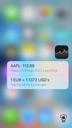Shortcuts, estendi il menu rapido del ForceTouch anche ad altre applicazioni_Borsa