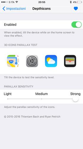 Depthicons, attiva l'effetto Parallax alle icone delle applicazioni nella schermata Home_Impostazioni